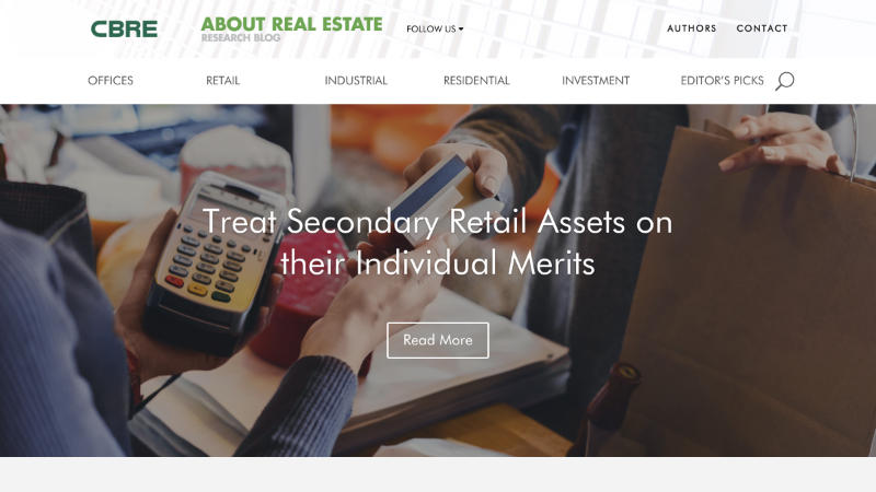CBRE About Real Estate – a website in Xander Gottlieb's design & development portfolio