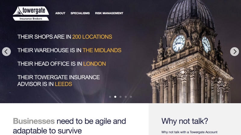 Towergate Insurance – a website in Xander Gottlieb's design & development portfolio